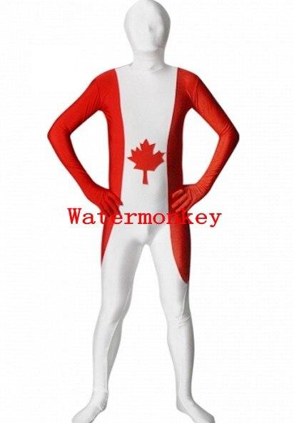 Canada Flag Zentai Second Skin Suit Fancy Dress Costume Spandex Lycra