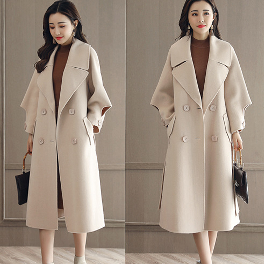 Winter Cashmere Coat Female Wool Jacket Coats Women Fashion Loose Adjustable Long Sleeves White High Quality Ladies Overcoat