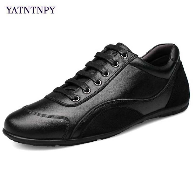 YATNTNPY Brand Shoes Men Genuine leather shoes Man Casual sneakers High Quality Flat shoes Plus Small