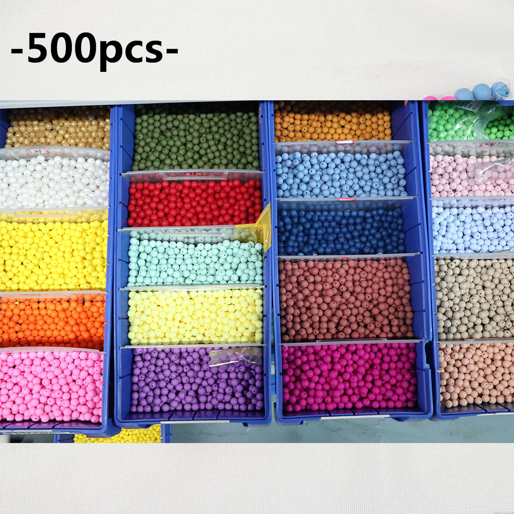 TYRY HU 500pc Silicone Beads 12mm Teething Necklace Balls For Chew Toys Baby Bite Teethers Accessories
