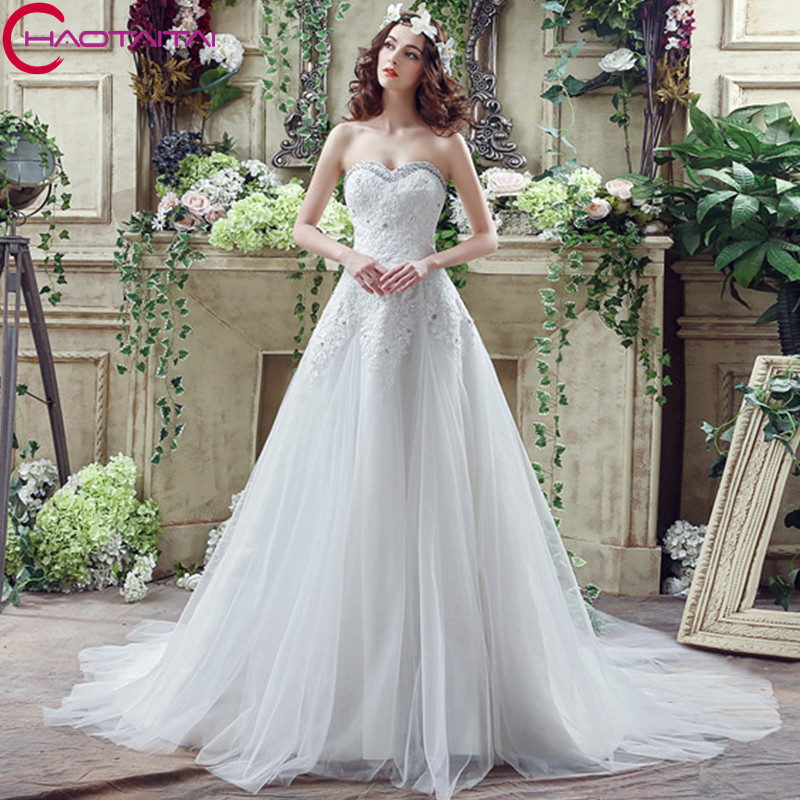 New Cheap Plus Size Wedding Dress Sweetheart Appliqued