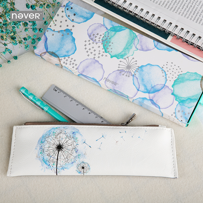 Never Dandelion Series Stationery Set Ruler Gel Pen Pu Leather Pencil Case Stationery Sets For Girls Office & School Supplies цена и фото