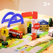 Exempt postage Wooden puzzle blocks toy track building