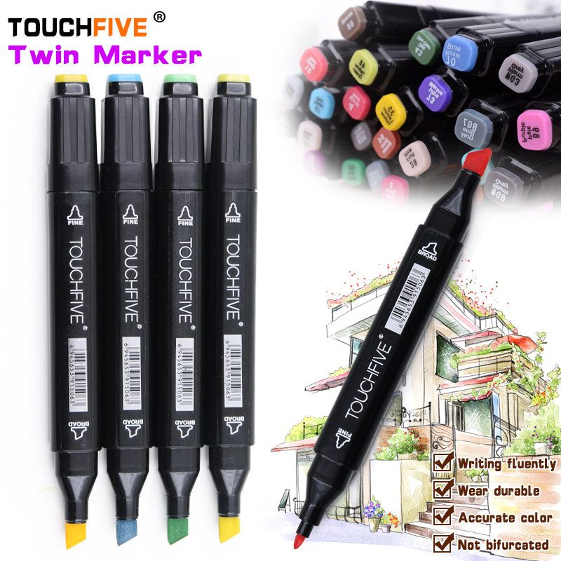TouchFive Marker 40/60/80 Color Alcoholic Oily Based Ink Marker Set Best For Manga Graphic Dual Headed Art Sketch Markers Brush touchnew 30 40 60 80 color art markers set material for drawing alcoholic oily based marker manga dual headed brush pen