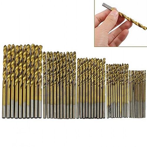 50 Pcs Titanium Coated Drill Bits General HSS High Speed Steel Drill Bit Set Tool