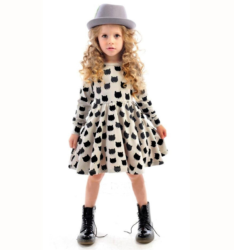 2018 Fashion Kids Baby Girl Clothes Cotton Black Cat Print Long Sleeve Dress Clothing Outfit 1-5Y Dresses Children Hot Clothes