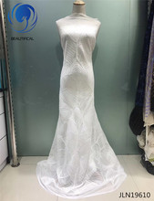 BEAUTIFICAL White Net lace fabric High quality embroidery sequins african tulle mesh for wedding french JLN196