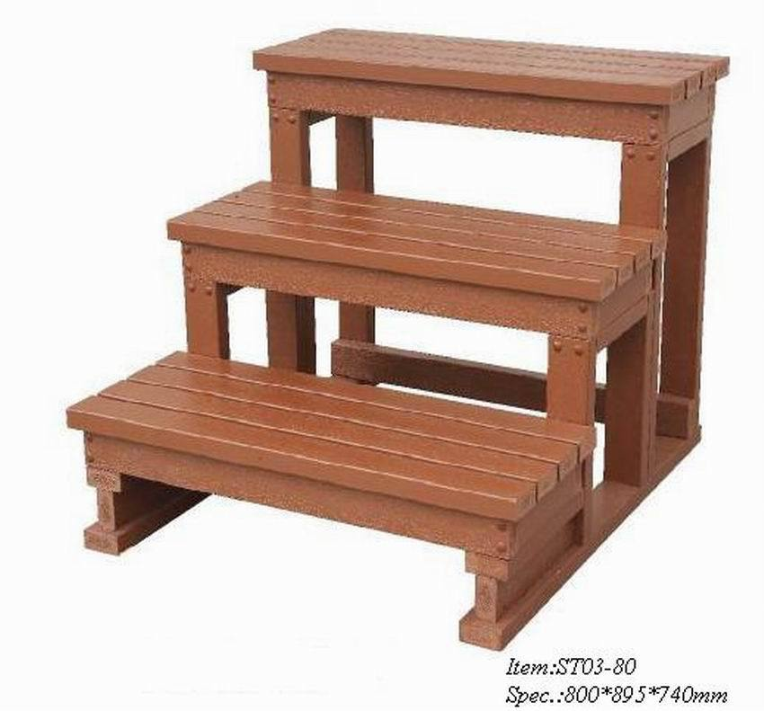 Spa step stair ladder for gazebo wooden spa tub and for Escalera de madera 5 pasos