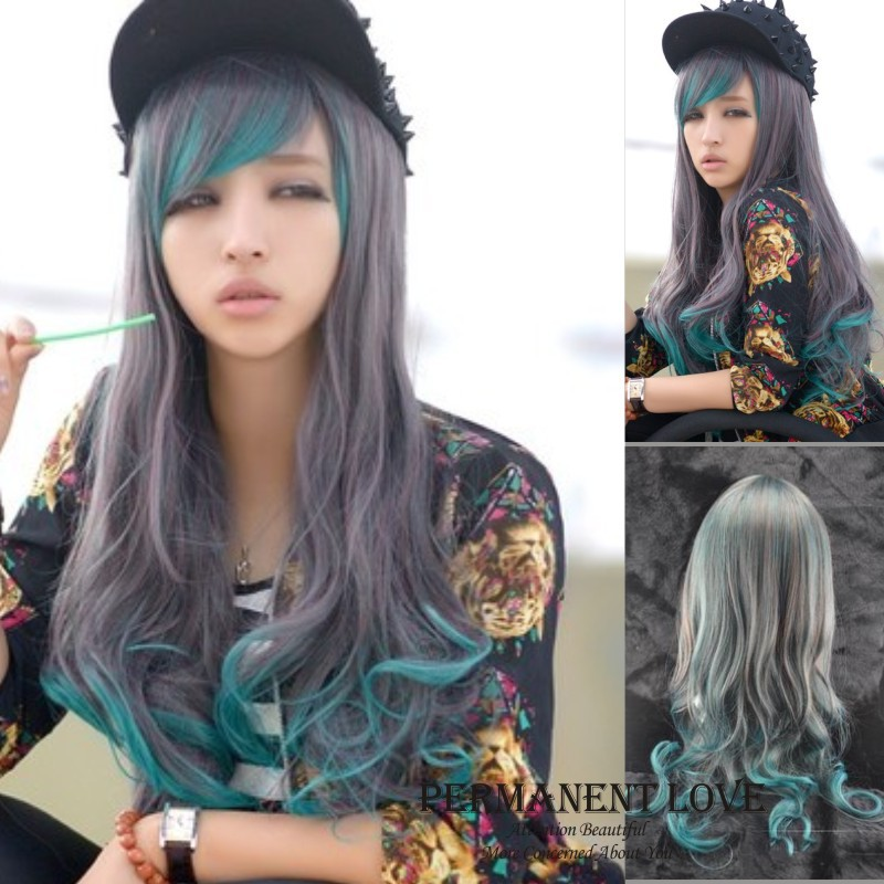 Synthetic grey green two tone wigs grey ombre wigs highlights girls synthetic grey green two tone wigs grey ombre wigs highlights girls long wavy hair wigs with side bangs for women cosplay wigs on aliexpress alibaba solutioingenieria Gallery