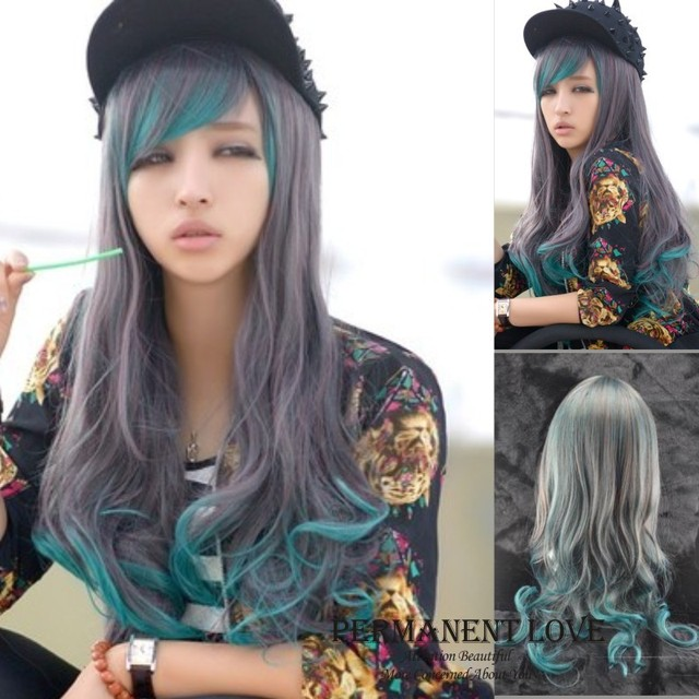 Synthetic Grey Green Two Tone Wigs Grey Ombre Wigs Highlights Girls