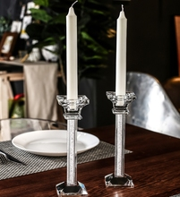 Transparent Crystal Candle Holder For Wedding Party Candlelight Dinner