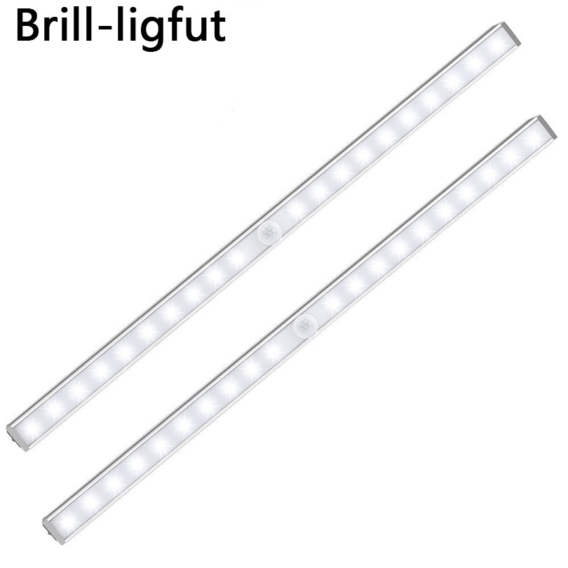 PIR Motion Sensor 20 LED Under Cabinet Light Closet Wall Lamp Led Rigid Strip Bar Light Kitchen Wardrobe Emergency Night Light
