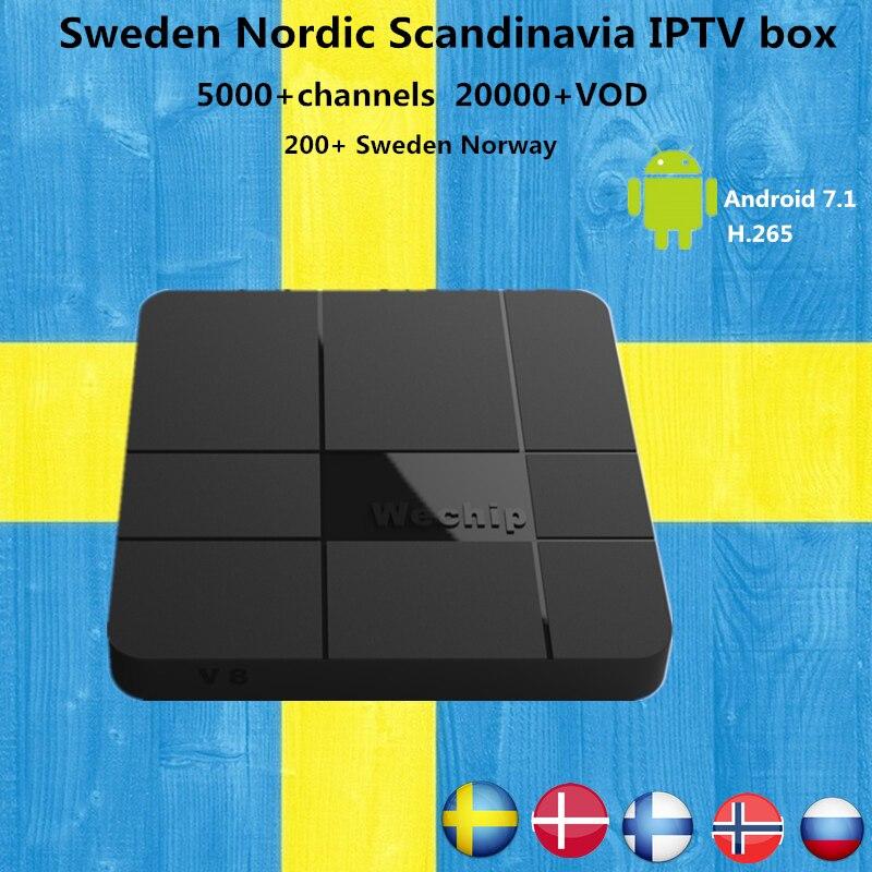 Best Sweden  IPTV Box Wechip V8 Android 7.1 TV  box 4800+ channels  Finland Norway Denmark Europe IPTV box  4K Smart TV BOX