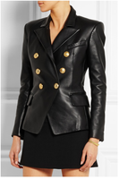Luxury Runway Fashion NEW Brand Women Black Double Breasted Genuine Leather Jacket Golden Buttons Slim Jackets Coat side pockets