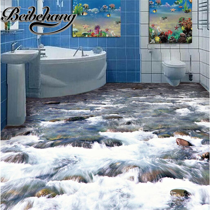 beibehang Custom Floor painting 3D Wall paper crystal clear river water Bathroom Floor PVC Wallpaper Self-adhesive wall sticker beibehang mural wallpaper 3d stereoscopic creative wall paper for living room bedroom bathroom floor pvc self adhesive sticker
