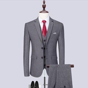 MarKyi Plus tamaño M-6XL gris clásico de los hombres trajes Slim Fit novio de boda Boda de traje de los hombres esmoquin caballeros traje Mariage Homme Slim ajuste