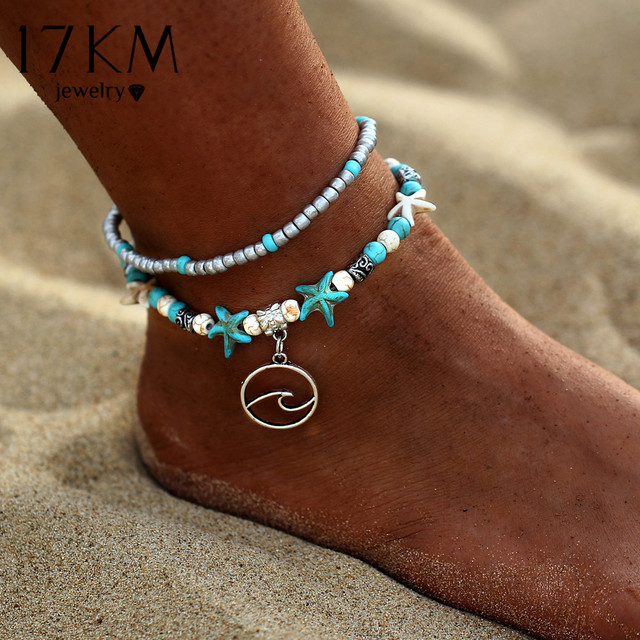 17KM Bohemian Wave Anklets For Women Vintage Multi Layer Bead Anklet Leg Bracelet Sandals Boho DIY Summer Charm Jewelry 2