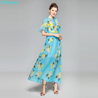 QYFCIOUFU 2018 Summer High Quality Runway Maxi Dress Women Half Sleeve Floral Print Elegant Chiffon Bohemian Beach Long Dress