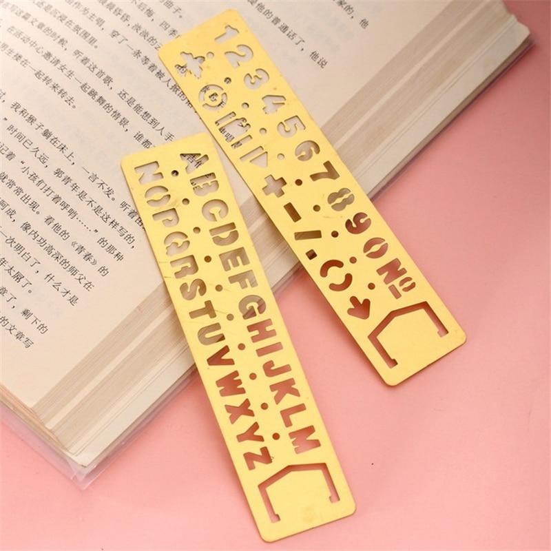 Creative Vintage Hollow Metal Ruler Lovely Kawaii Letter Number Bookmark Rulers For Kids Gift School Supplies Student 1611
