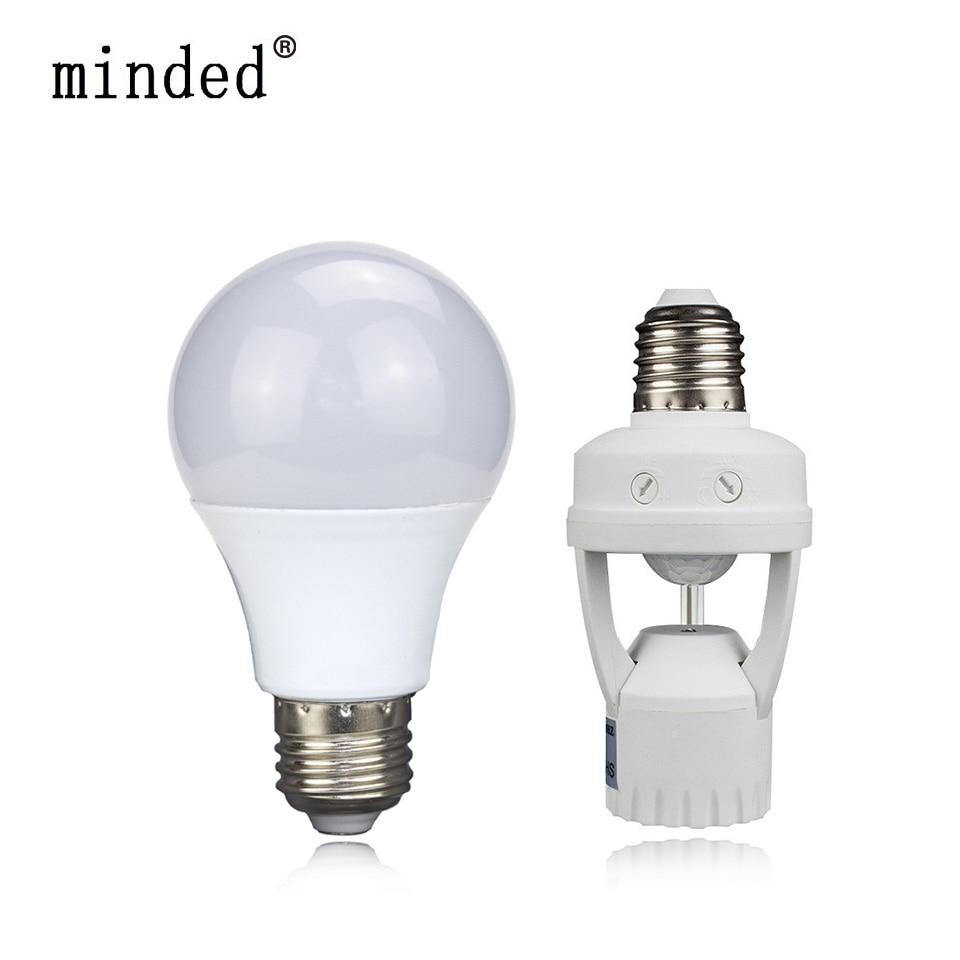 LED Ball Lampe DIY PIR Induction Infrarouge Motion Sensor Base titulaire + E27 12 W 220 V LED Ampoule Pour Escalier Couloir Night light & éclairage