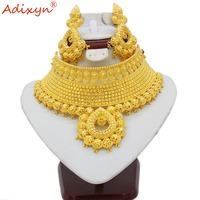Adixyn Indian Big Heavy Jewelry Sets Gold Color Long Necklace/Earrings For Women African/Dubai/Arab Wedding Jewelry Gifts N06089