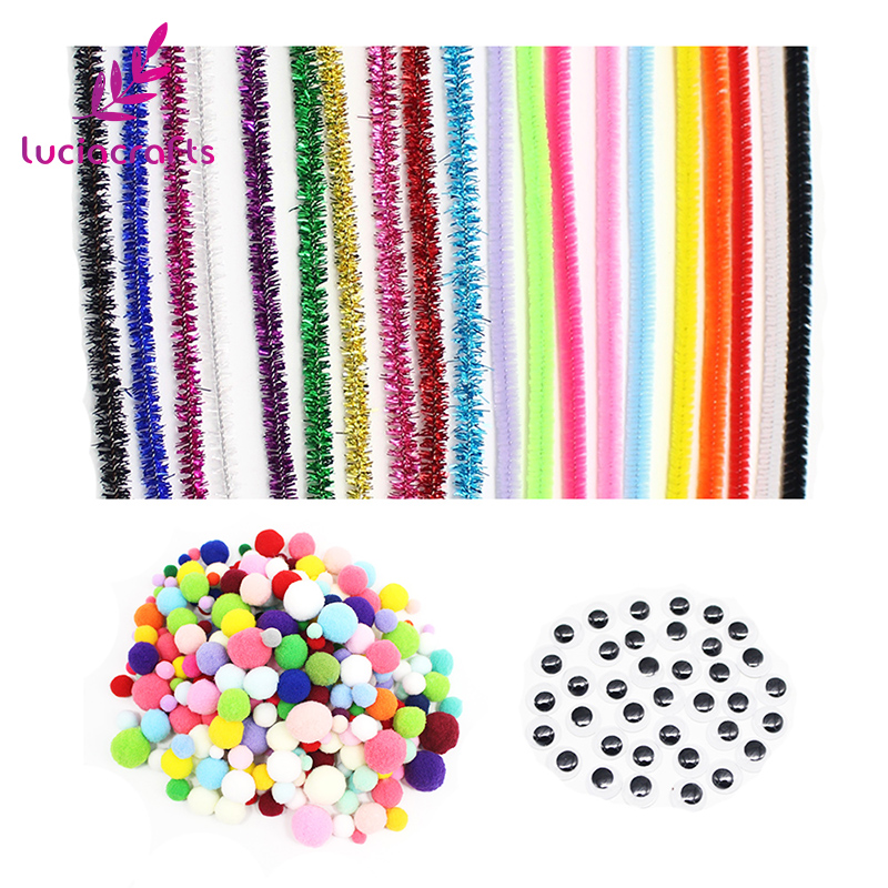 Lucia crafts 400pcs/lot Pipe Cleaners Chenille Stem and Pompoms with Googly Wiggle Eyes for DIY Crafts Decorations L0202 craft