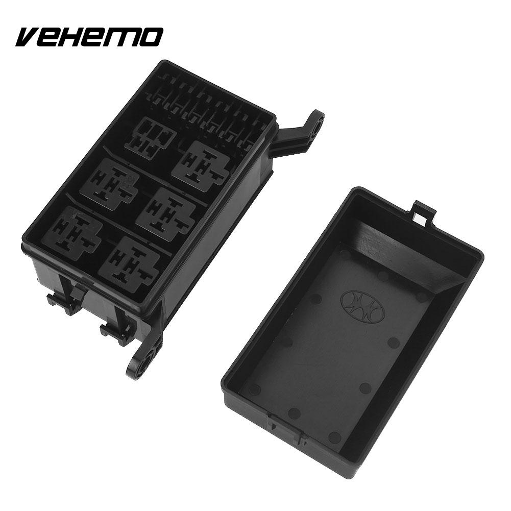 Vehemo Premium Car Fuse Box Replacement with 33 Pins Fuse Box Holder 6  Relay Block Holder Black Automobile DC 12V 20A Durable-in Fuses from  Automobiles ...