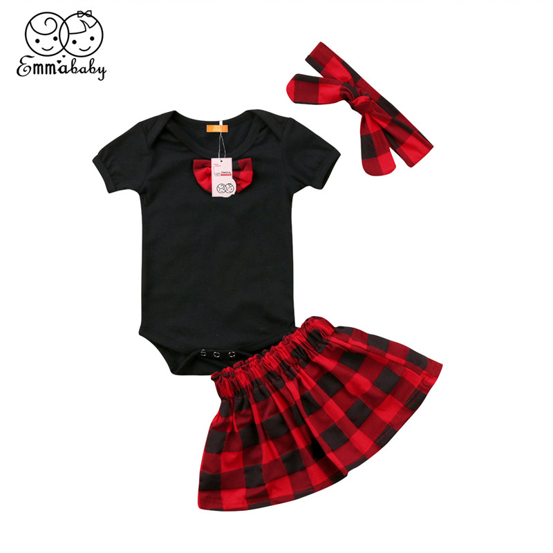 3pcs/Set Baby Girl Clothes 2018 Newest Summer Cute Newborn Baby Girl Cotton Short Sleeve Bow Romper+Plaid SKirt+Headband Outfits