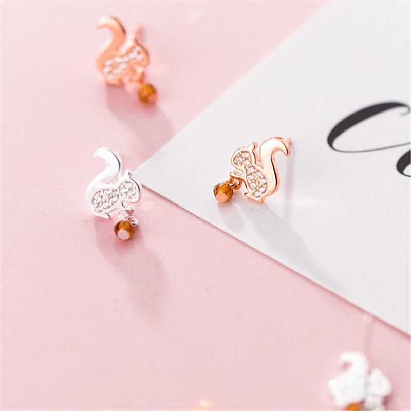 100% 925 Silver/Rose Gold Cute Animal Element Squirrel Pine Nut Stud Earrings Charm Fashion Jewelry Women G0731