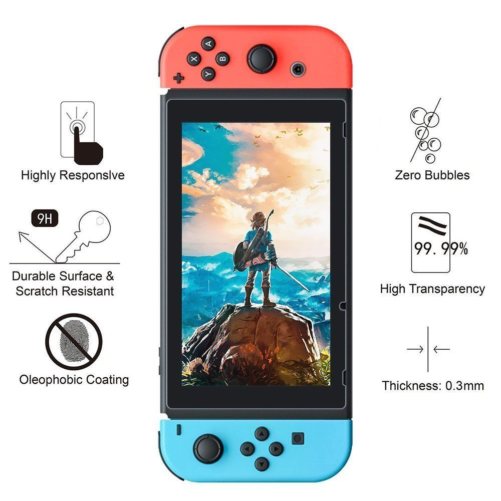 2 x Tempered Glass Film Screen Protector Cover Skin Guard for Switch Console