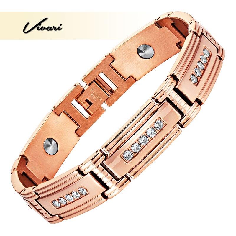 Vivari Crystal High Pure 7Pcs Germanium Bracelet For Women Rose Gold Color Health Energy Men Steel Charm Bracelet Wristband 38 fashion health magnet charm bracelet full pure 99 9
