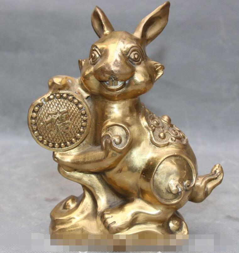 "S03701 7"" Chinese Fengshui Bronze Auspicious Blessing Zodiac Year Animal Rabbit Statue B0403|statue 1/4|statue 1:1|statue bronze - title="