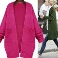 2016 новый свитер размер пальто в длинный участок весной и осенью все матч твердые свободные тонкий женский кардиган свитера