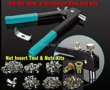 Заклепки наборы инструментов 500 шт. орехи M3-M8 вставки набор инструментов заклепки пистолет клепки инструмент DHL бесплатная доставка