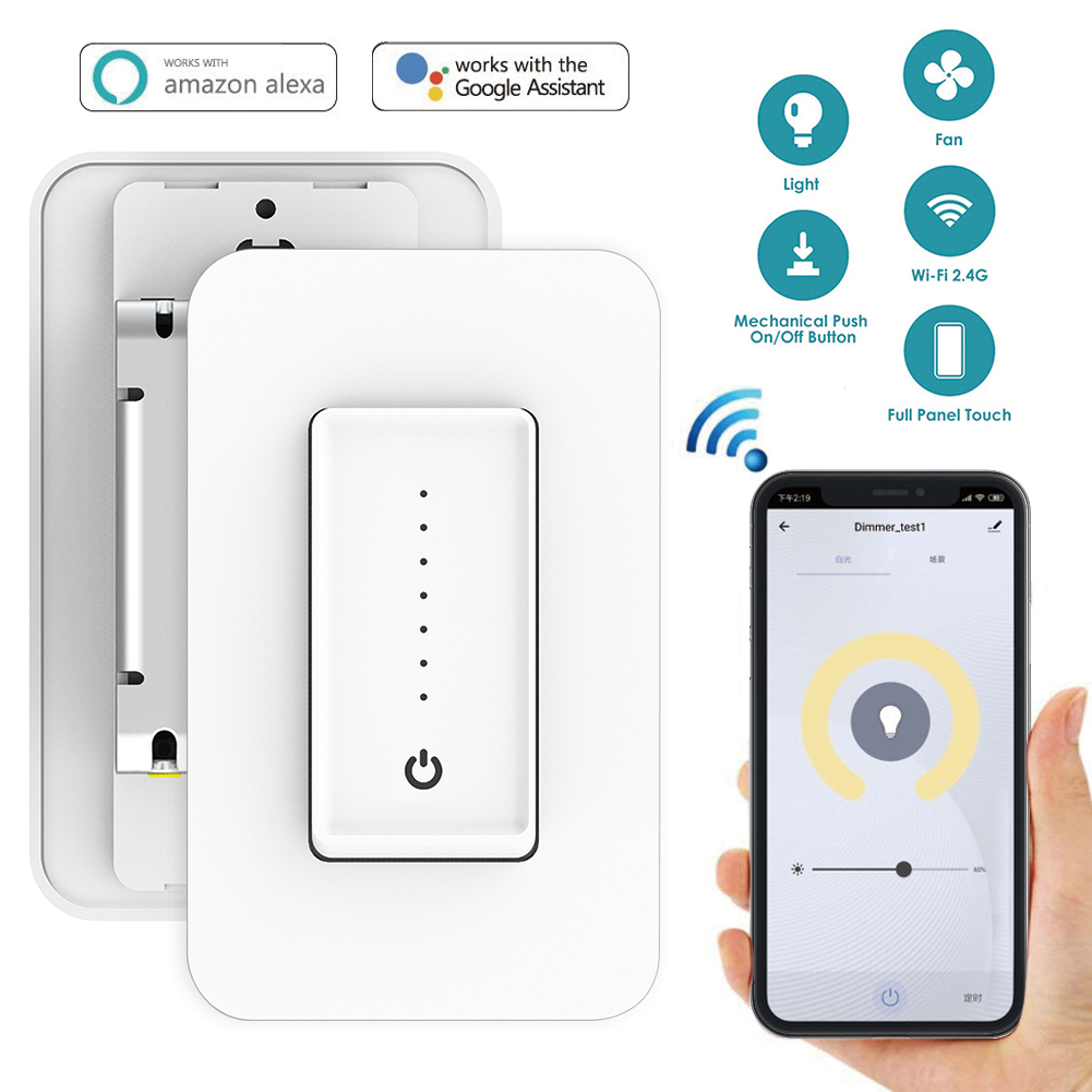 2019 Smart Wifi Dimmer Switch Wall Full Touch Control Speed Adjustable Fan Switch App Remote Control with Alexa Google Home2019 Smart Wifi Dimmer Switch Wall Full Touch Control Speed Adjustable Fan Switch App Remote Control with Alexa Google Home