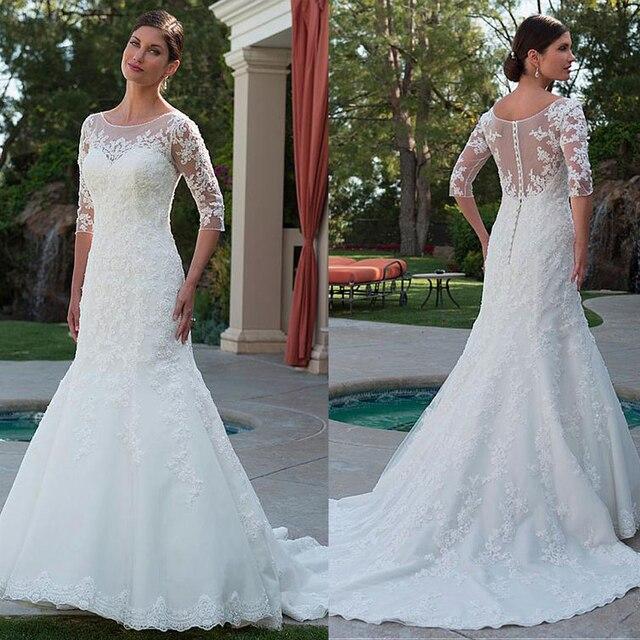 Elegante tule bateau decote sereia vestido de casamento com apliques de renda frisada meia mangas vestido de noiva com cristais