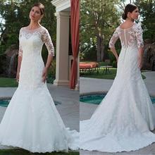 Modische Tüll Bateau Ausschnitt Meerjungfrau Hochzeit Kleid Mit Perlen Spitze Appliques Halbarm Brautkleid mit Kristallen