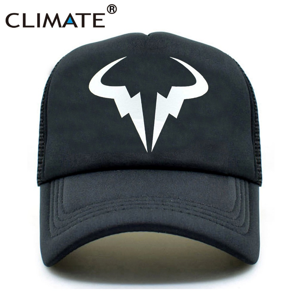 CLIMATE Men Women Summer Trucker Caps Rafa Nadal Roger Federer RF Tennis Fans Caps Summer Mesh Net Trucker Tennis Sport Caps Hat