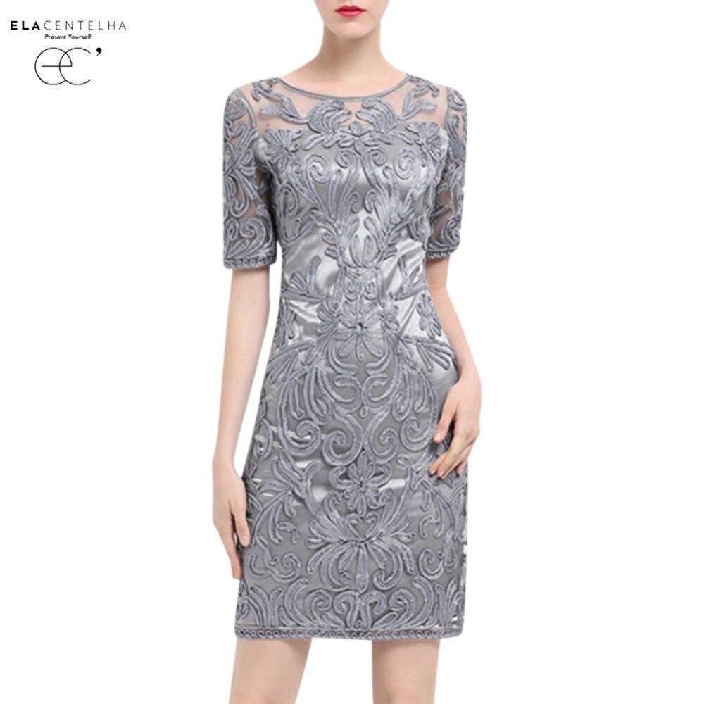 Elacentelha women dress new design short sleeve mesh