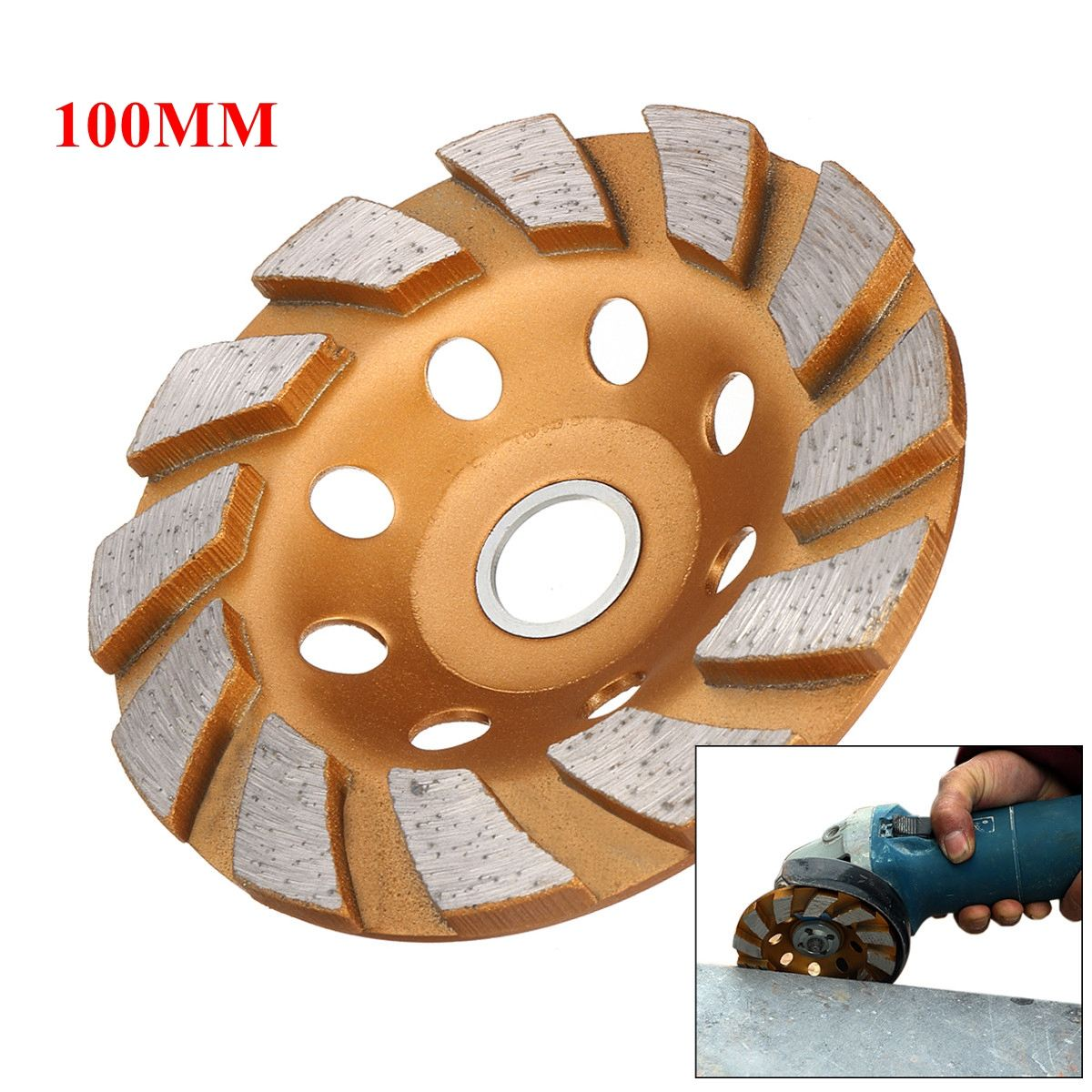 100mm/4inch 8 Holes HGS Segment Grinding Wheel Diamond Grind Cup Disc Concrete Granite Stone Grinder DIY Power Tool