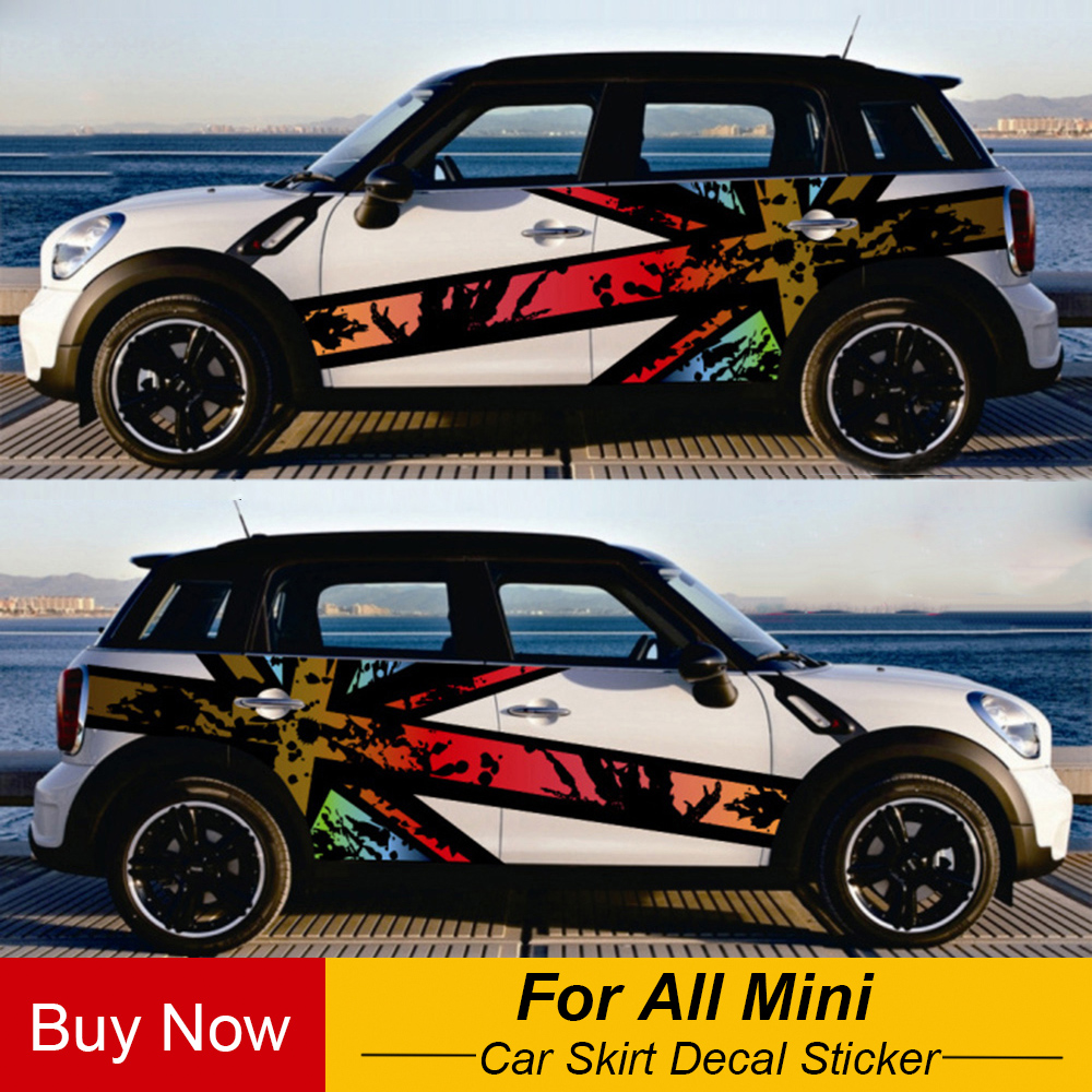 Both Side Union Jack Car Door Side Decal Sticker For MINI Cooper F54 F55 F56 F60 R55 R56 R60 Countryman Car Styling Accessories