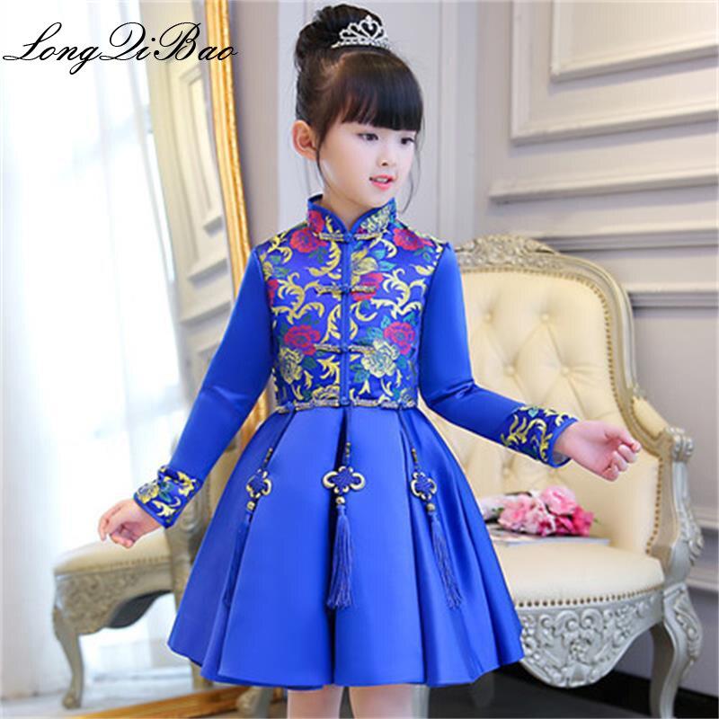 Traditionnel enfants fille princesse bleu Cheongsam robe enfants Style Oriental robes à manches longues rétro robe de chambre Satin Qipao