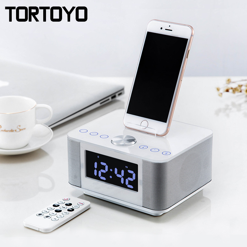 K5 Stereo 2.0 Subwoofer Wireless Bluetooth Speaker Support AUX USB Charger Handsfree FM Radio Alarm Clock for iPhone Android PC original lker bluetooth speaker wireless stereo mini portable mp3 player audio support handsfree aux in