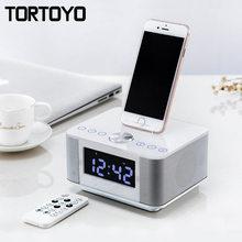 K5 Stereo 2.0 Subwoofer Wireless Bluetooth Speaker Support AUX USB Charger Handsfree FM Radio Alarm Clock for iPhone Android PC