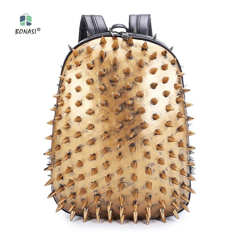 2018 New Fashion 3D Hedgehog Rivet Unisex backpack PU leather Backpack mochila Waterproof Men Women bag school boys bags unicorn backpack women men leisure bag harajuku galaxy backpack school bags for girls boys mochila escolar children book bag 3d