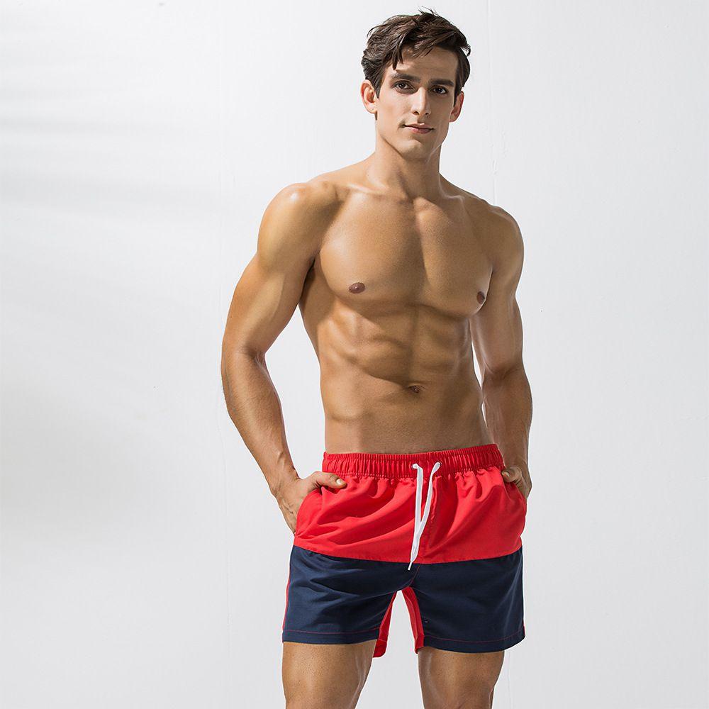 Shorts Beach Men Swimwear Quick Dry Bermuda Short Gym Surf Board Shorts Patchwork Men Swim Bathing Suit Trunks Drawstring
