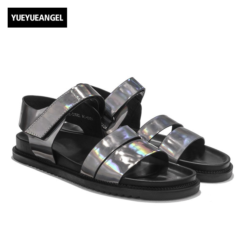 Summer Mens Casual Flats Beach Sandals Ankle Strap Open Toes Slippers Patent Real Leather Boys Platform Outside Shoes Plus Size italian classic mens summer gladiator beach sandals ankle buckle weave hollow out cow real leather shoes large size casual shoes