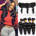 7A Ear To Ear 13x4 Lace Frontal Closure With Peruvian Loose Wave 4 Bundles With Frontal Closure Bleached Knots And Bundle Deals