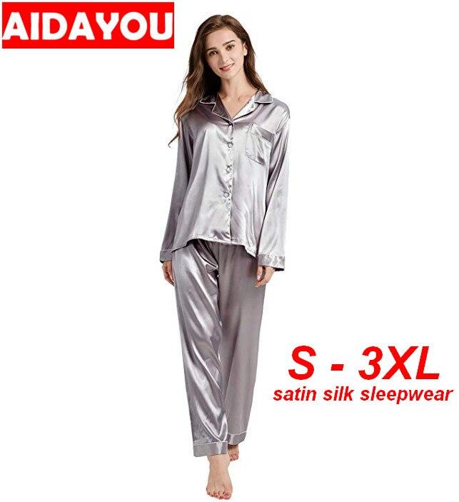 Womens Satin silk   Pajama     Set   with pocket Sleepwear Loungewear Silk Satin   Pajamas     Set   Plus Size ouc426a