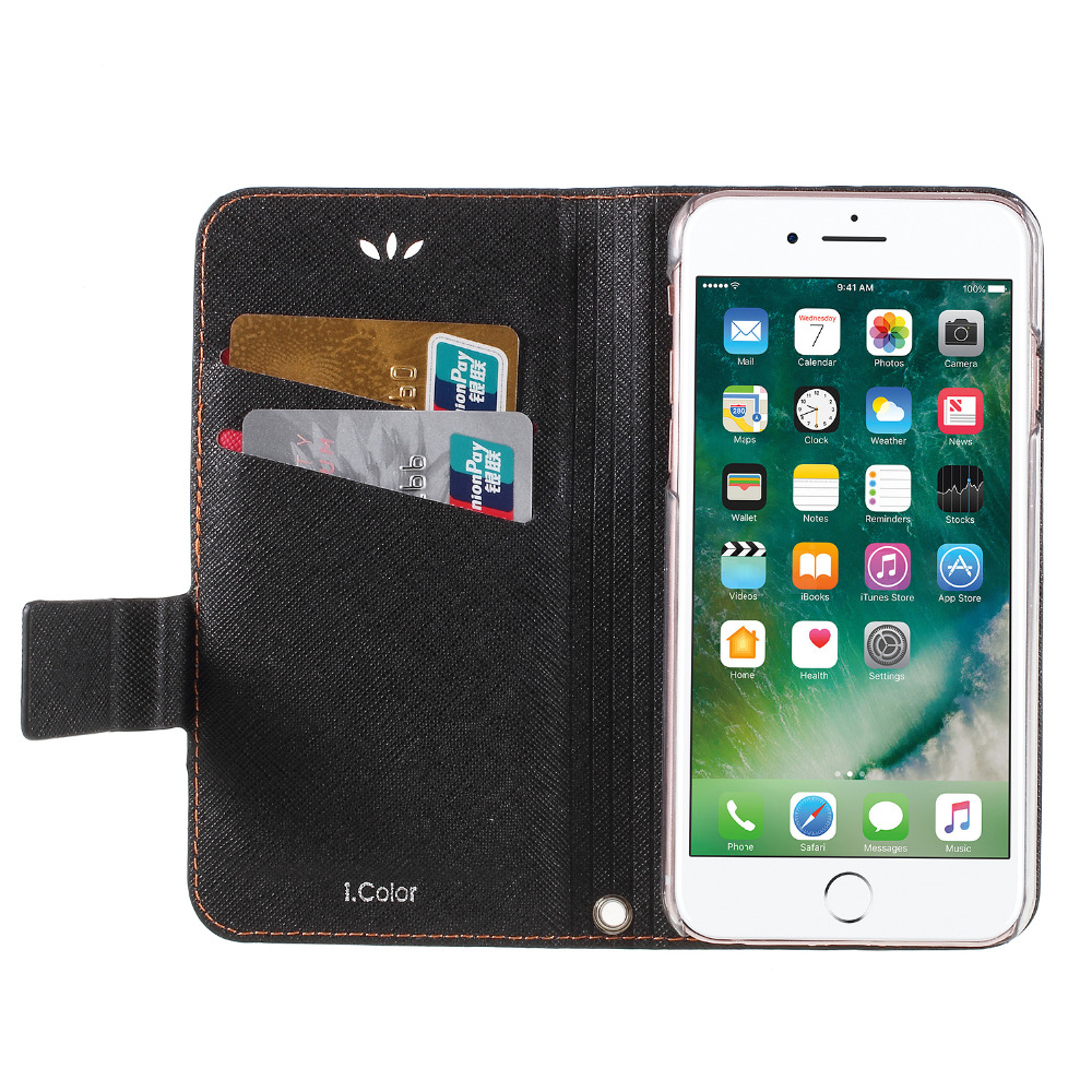 2 Colors Mash Up Leather Case For iPhone 6 Case 6s 7 8 Flip Cover For iPhone X 8 7 6 S Plus Stand Cards Holder Fashion Phone Bag